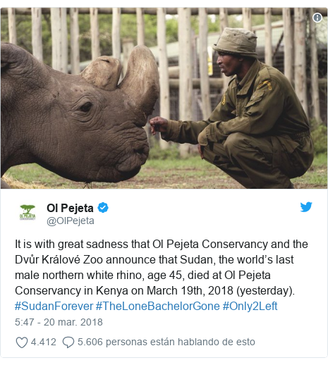 Publicación de Twitter por @OlPejeta: It is with great sadness that Ol Pejeta Conservancy and the Dvůr Králové Zoo announce that Sudan, the world's last male northern white rhino, age 45, died at Ol Pejeta Conservancy in Kenya on March 19th, 2018 (yesterday).  #SudanForever #TheLoneBachelorGone #Only2Left
