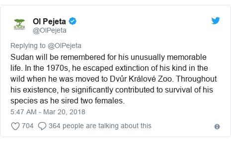 Ujumbe wa Twitter wa @OlPejeta: Sudan will be remembered for his unusually memorable life. In the 1970s, he escaped extinction of his kind in the wild when he was moved to Dvůr Králové Zoo. Throughout his existence, he significantly contributed to survival of his species as he sired two females.