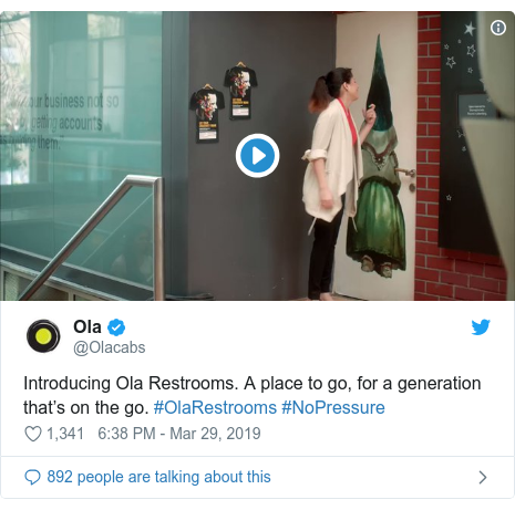 Twitter post by @Olacabs: Introducing Ola Restrooms. A place to go, for a generation that's on the go. #OlaRestrooms #NoPressure