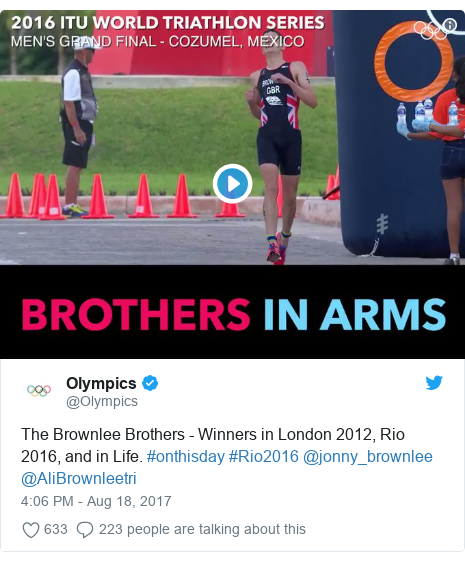 Twitter post by @Olympics: The Brownlee Brothers - Winners in London 2012, Rio 2016, and in Life. #onthisday #Rio2016 @jonny_brownlee @AliBrownleetri