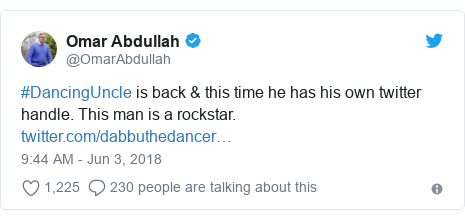 Twitter post by @OmarAbdullah: #DancingUncle is back & this time he has his own twitter handle. This man is a rockstar.