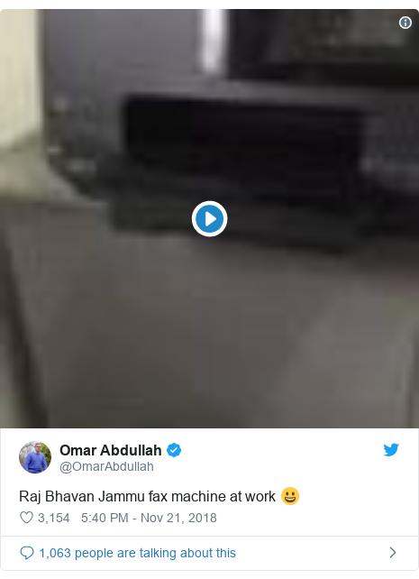 Twitter post by @OmarAbdullah: Raj Bhavan Jammu fax machine at work 😀