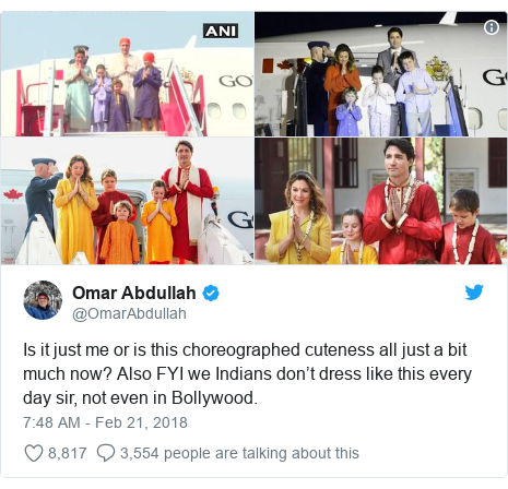 Twitter post by @OmarAbdullah: Is it just me or is this choreographed cuteness all just a bit much now? Also FYI we Indians don't dress like this every day sir, not even in Bollywood.