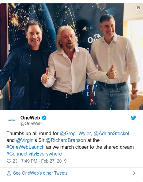 Twitter post by @OneWeb: Thumbs up all round for @Greg_Wyler, @AdrianSteckel and @Virgin's Sir @RichardBranson at the #OneWebLaunch as we march closer to the shared dream #ConnectivityEverywhere