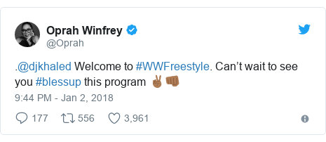 Twitter post by @Oprah: .@djkhaled Welcome to #WWFreestyle. Can't wait to see you #blessup this program ✌🏾👊🏾