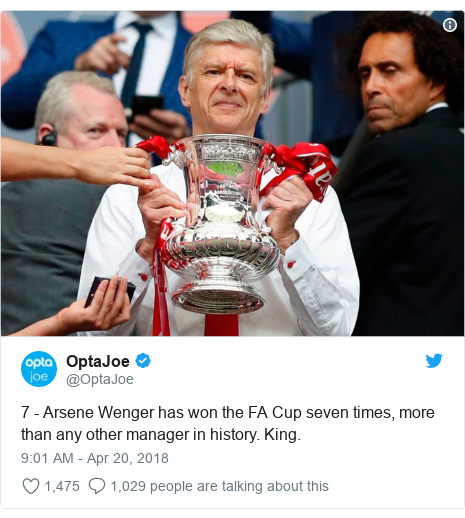Twitter post by @OptaJoe: 7 - Arsene Wenger has won the FA Cup seven times, more than any other manager in history. King.