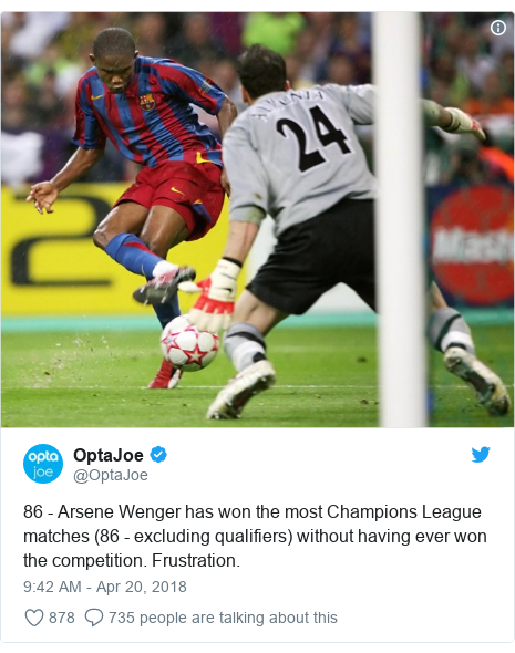 Twitter post by @OptaJoe: 86 - Arsene Wenger has won the most Champions League matches (86 - excluding qualifiers) without having ever won the competition. Frustration.