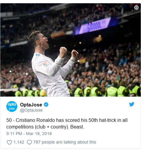 Twitter post by @OptaJose: 50 - Cristiano Ronaldo has scored his 50th hat-trick in all competitions (club + country). Beast.