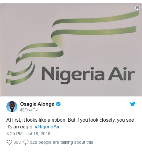 Twitter post by @OsaGz: At first, it looks like a ribbon. But if you look closely, you see it's an eagle. #NigeriaAir