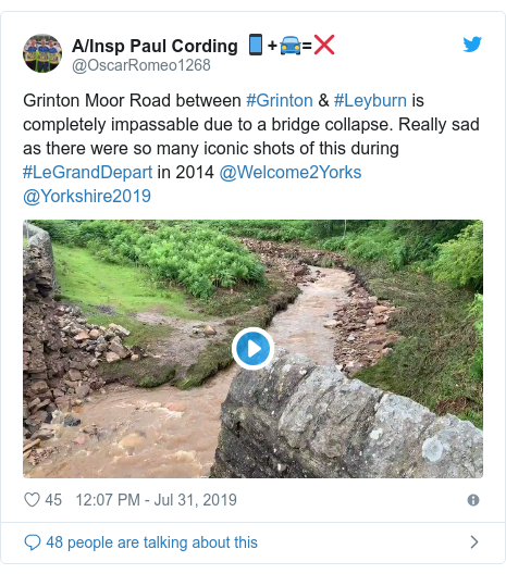Twitter post by @OscarRomeo1268: Grinton Moor Road between #Grinton & #Leyburn is completely impassable due to a bridge collapse. Really sad as there were so many iconic shots of this during #LeGrandDepart in 2014 @Welcome2Yorks @Yorkshire2019