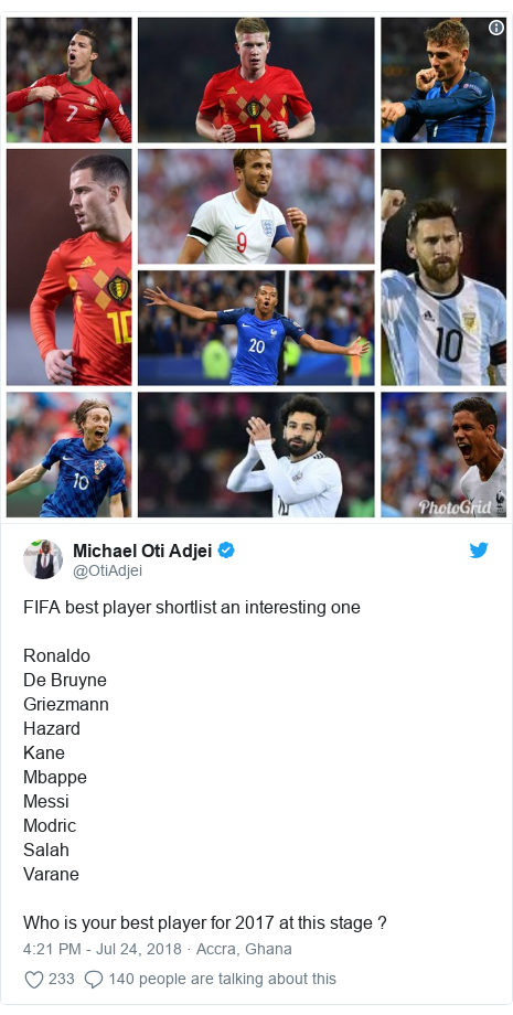 Twitter post by @OtiAdjei: FIFA best player shortlist an interesting oneRonaldoDe BruyneGriezmannHazardKaneMbappeMessiModric SalahVaraneWho is your best player for 2017 at this stage ?