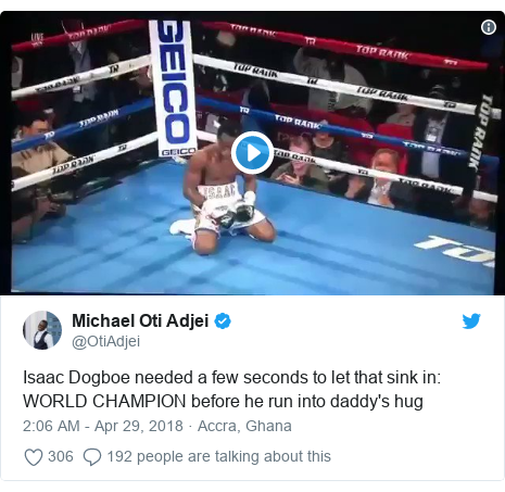 Twitter post by @OtiAdjei: Isaac Dogboe needed a few seconds to let that sink in  WORLD CHAMPION before he run into daddy's hug