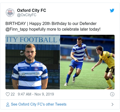 Twitter post by @OxCityFC: BIRTHDAY | Happy 20th Birthday to our Defender @Finn_tapp hopefully more to celebrate later today!