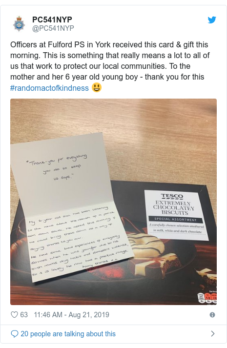 Twitter post by @PC541NYP: Officers at Fulford PS in York received this card & gift this morning. This is something that really means a lot to all of us that work to protect our local communities. To the mother and her 6 year old young boy - thank you for this #randomactofkindness 😃