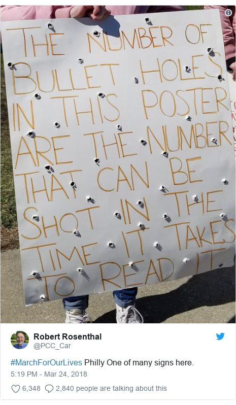 Twitter post by @PCC_Car: #MarchForOurLives Philly One of many signs here.
