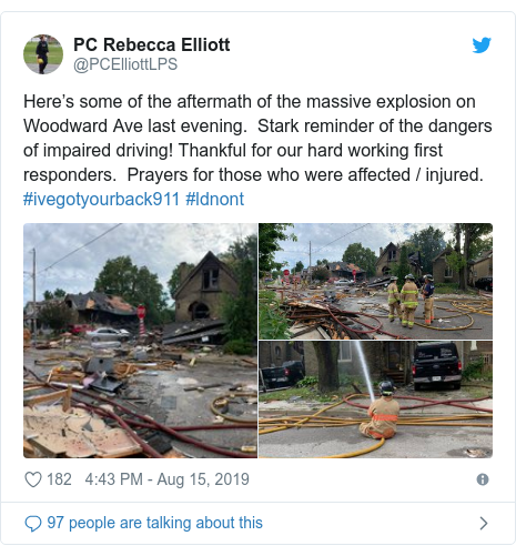 Twitter post by @PCElliottLPS: Here's some of the aftermath of the massive explosion on Woodward Ave last evening.  Stark reminder of the dangers of impaired driving! Thankful for our hard working first responders.  Prayers for those who were affected / injured. #ivegotyourback911 #ldnont