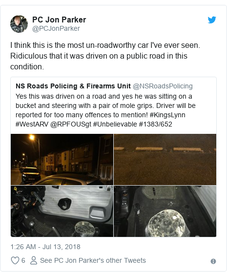 Twitter post by @PCJonParker: I think this is the most un-roadworthy car I've ever seen. Ridiculous that it was driven on a public road in this condition.