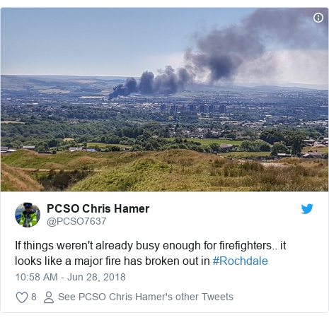 Twitter post by @PCSO7637: If things weren't already busy enough for firefighters.. it looks like a major fire has broken out in #Rochdale