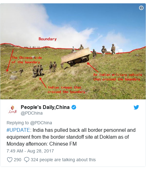 Twitter post by @PDChina: #UPDATE  India has pulled back all border personnel and equipment from the border standoff site at Doklam as of Monday afternoon  Chinese FM