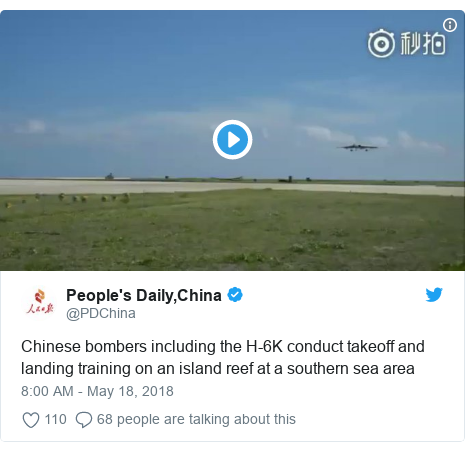 Twitter post by @PDChina: Chinese bombers including the H-6K conduct takeoff and landing training on an island reef at a southern sea area