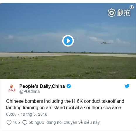 Twitter bởi @PDChina: Chinese bombers including the H-6K conduct takeoff and landing training on an island reef at a southern sea area