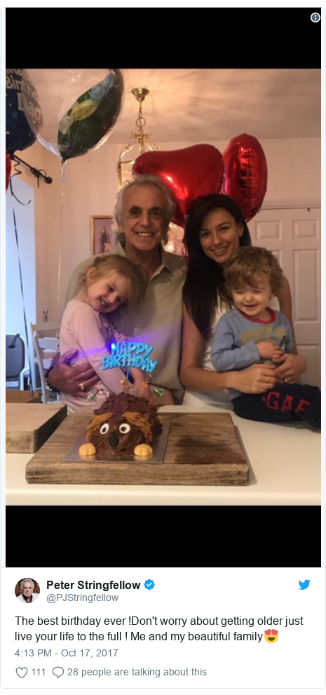 Twitter post by @PJStringfellow: The best birthday ever !Don't worry about getting older just live your life to the full ! Me and my beautiful family😍