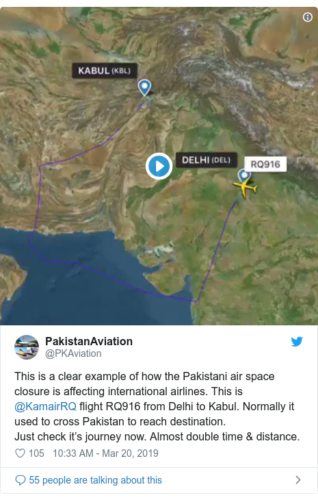 Twitter post by @PKAviation: This is a clear example of how the Pakistani air space closure is affecting international airlines. This is @KamairRQ flight RQ916 from Delhi to Kabul. Normally it used to cross Pakistan to reach destination.Just check it's journey now. Almost double time & distance.