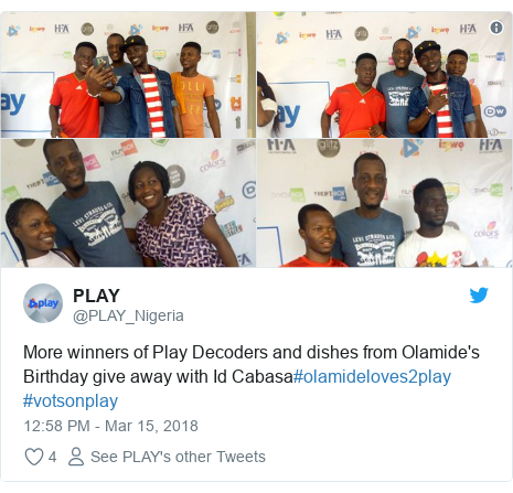 Twitter post by @PLAY_Nigeria: More winners of Play Decoders and dishes from Olamide's Birthday give away with Id Cabasa#olamideloves2play #votsonplay