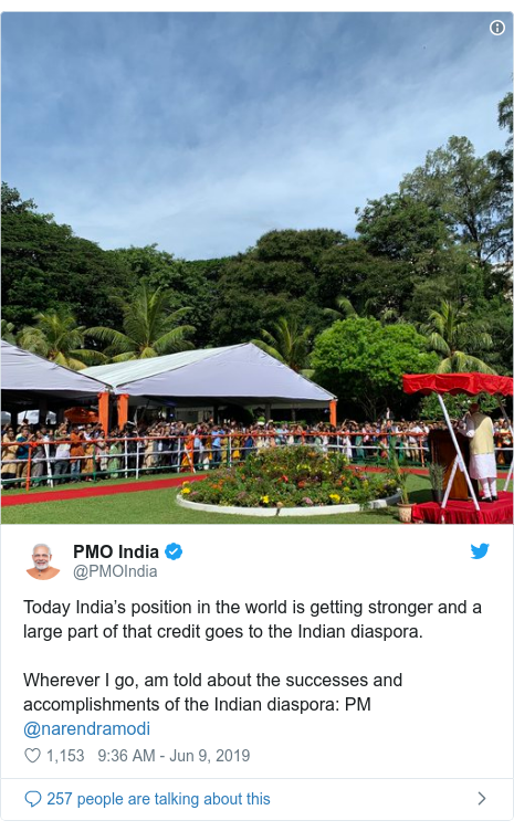 Twitter හි @PMOIndia කළ පළකිරීම: Today India's position in the world is getting stronger and a large part of that credit goes to the Indian diaspora. Wherever I go, am told about the successes and accomplishments of the Indian diaspora  PM @narendramodi