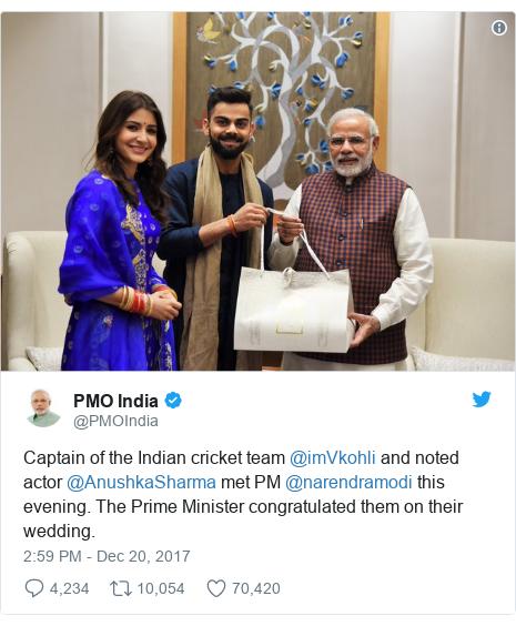 د @PMOIndia په مټ ټویټر  تبصره : Captain of the Indian cricket team @imVkohli and noted actor @AnushkaSharma met PM @narendramodi this evening. The Prime Minister congratulated them on their wedding.