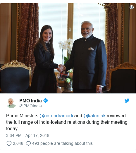 Twitter post by @PMOIndia: Prime Ministers @narendramodi and @katrinjak reviewed the full range of India-Iceland relations during their meeting today.