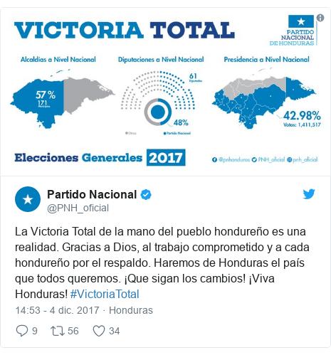 Publicación de Twitter por @PNH_oficial: La Victoria Total de la mano del pueblo hondureño es una realidad. Gracias a Dios, al trabajo comprometido y a cada hondureño por el respaldo. Haremos de Honduras el país que todos queremos. ¡Que sigan los cambios! ¡Viva Honduras! #VictoriaTotal