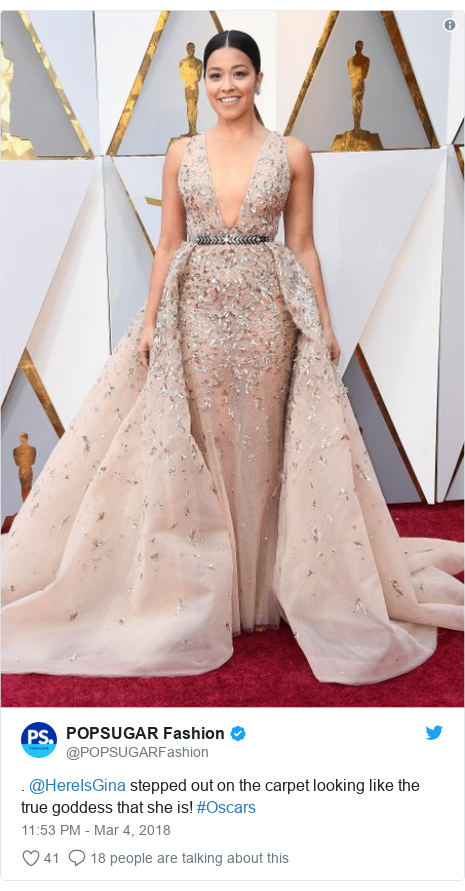 Twitter post by @POPSUGARFashion: . @HereIsGina stepped out on the carpet looking like the true goddess that she is! #Oscars