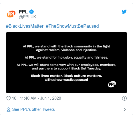 Twitter post by @PPLUK: #BlackLivesMatter  #TheShowMustBePaused