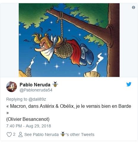 Twitter post by @Pabloneruda54: « Macron, dans Astérix & Obélix, je le verrais bien en Barde »(Olivier Besancenot)
