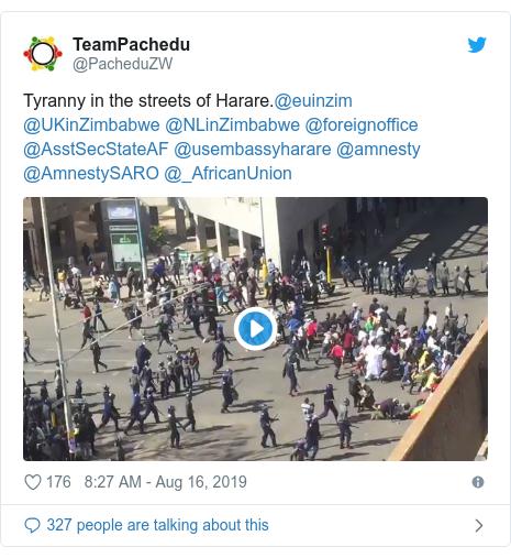 Twitter post by @PacheduZW: Tyranny in the streets of Harare.@euinzim @UKinZimbabwe @NLinZimbabwe @foreignoffice @AsstSecStateAF @usembassyharare @amnesty @AmnestySARO @_AfricanUnion