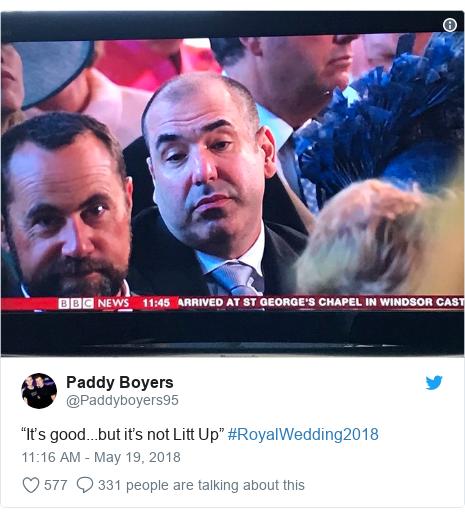 "Twitter post by @Paddyboyers95: ""It's good...but it's not Litt Up"" #RoyalWedding2018"