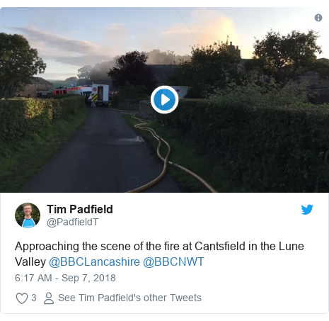 Twitter post by @PadfieldT: Approaching the scene of the fire at Cantsfield in the Lune Valley @BBCLancashire @BBCNWT