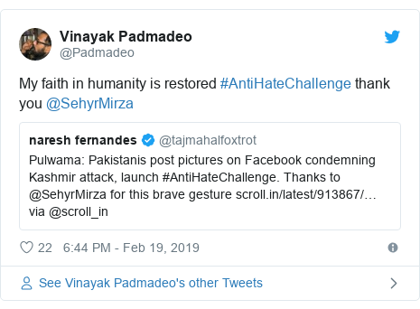 Twitter post by @Padmadeo: My faith in humanity is restored #AntiHateChallenge thank you @SehyrMirza