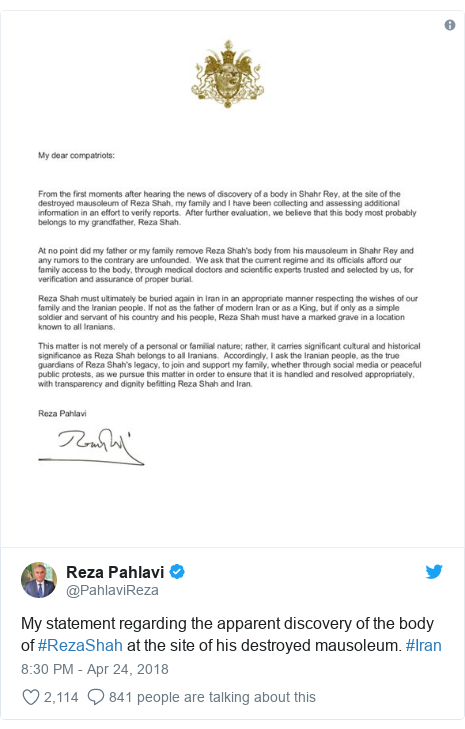 Twitter post by @PahlaviReza: My statement regarding the apparent discovery of the body of #RezaShah at the site of his destroyed mausoleum. #Iran