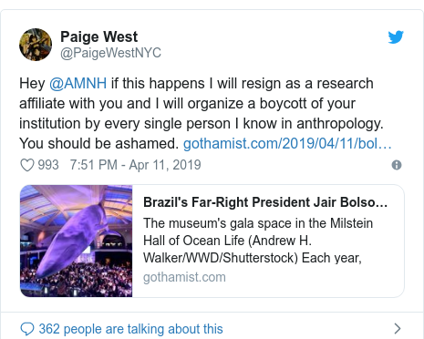 Twitter post by @PaigeWestNYC: Hey @AMNH if this happens I will resign as a research affiliate with you and I will organize a boycott of your institution by every single person I know in anthropology. You should be ashamed.