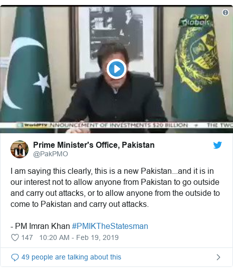 Twitter post by @PakPMO: I am saying this clearly, this is a new Pakistan...and it is in our interest not to allow anyone from Pakistan to go outside and carry out attacks, or to allow anyone from the outside to come to Pakistan and carry out attacks. - PM Imran Khan #PMIKTheStatesman