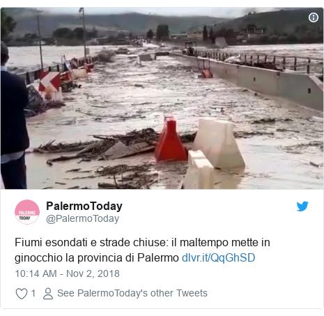 Twitter post by @PalermoToday: Fiumi esondati e strade chiuse  il maltempo mette in ginocchio la provincia di Palermo