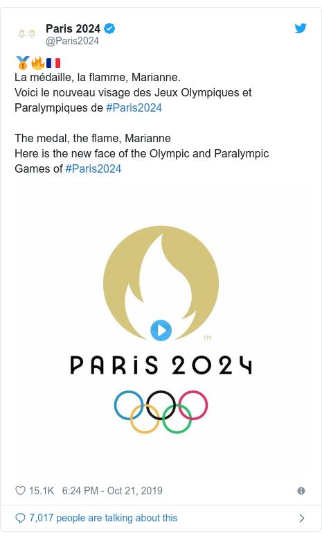 Twitter post by @Paris2024: 🥇🔥🇫🇷La médaille, la flamme, Marianne.Voici le nouveau visage des Jeux Olympiques et Paralympiques de #Paris2024The medal, the flame, MarianneHere is the new face of the Olympic and Paralympic Games of #Paris2024