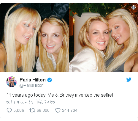 Twitter post by @ParisHilton: 11 years ago today, Me & Britney invented the selfie!