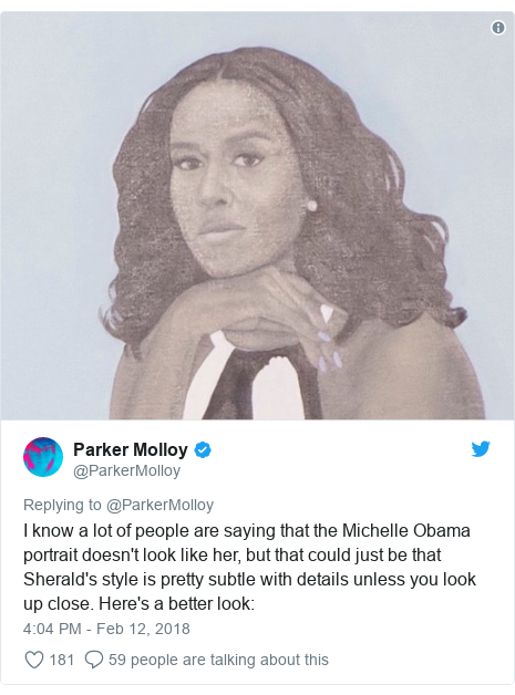 Twitter post by @ParkerMolloy: I know a lot of people are saying that the Michelle Obama portrait doesn't look like her, but that could just be that Sherald's style is pretty subtle with details unless you look up close. Here's a better look