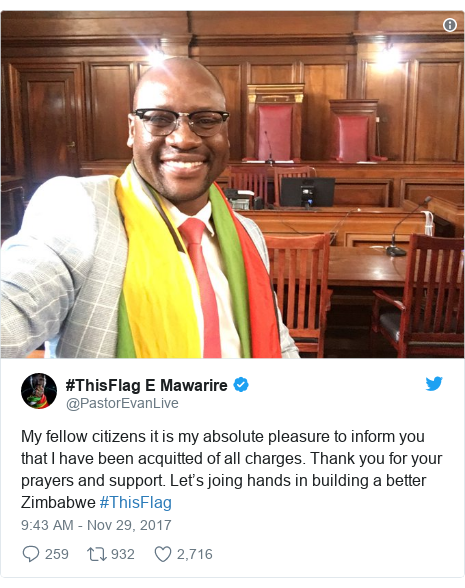 Twitter post by @PastorEvanLive: My fellow citizens it is my absolute pleasure to inform you that I have been acquitted of all charges. Thank you for your prayers and support. Let's joing hands in building a better Zimbabwe #ThisFlag