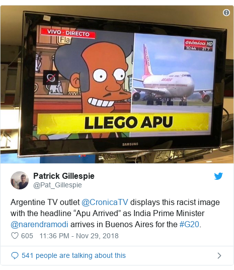 """Twitter post by @Pat_Gillespie: Argentine TV outlet @CronicaTV displays this racist image with the headline """"Apu Arrived"""" as India Prime Minister @narendramodi arrives in Buenos Aires for the #G20."""