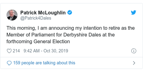 Twitter post by @Patrick4Dales: This morning, I am announcing my intention to retire as the Member of Parliament for Derbyshire Dales at the forthcoming General Election