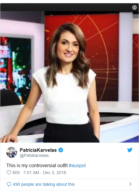 Twitter post by @PatsKarvelas: This is my controversial outfit #auspol